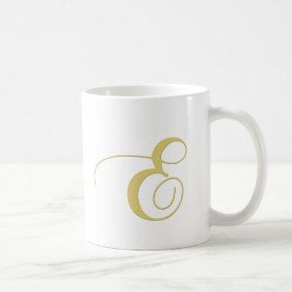 Monogram Letter E Golden Single Coffee Mug