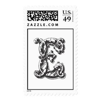 Monogram Letter E in Black Stamps