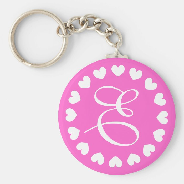 Monogram letter E keychain with white love hearts | Zazzle