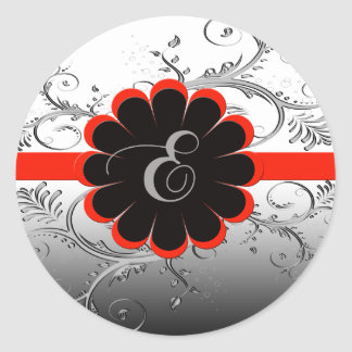 Monogram Letter E Red Classic Round Sticker