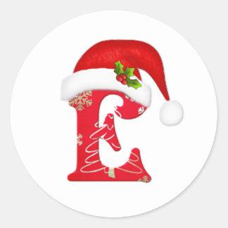 Monogram letter E, Santa hat Christmas  Sticker