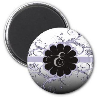 Monogram Letter E Violet 2 Inch Round Magnet