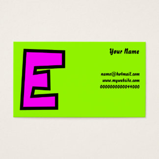 Monogram Letter E, Your Name, Business Card