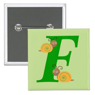 Monogram letter F brian the snail kids button, pin