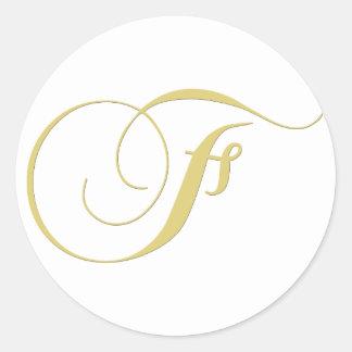 Monogram Letter F Golden Single Classic Round Sticker