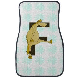 Monogram Letter F Pony Car Floor Mat