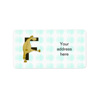Monogram Letter F Pony Label