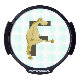 Monogram Letter F Pony LED Window Decal