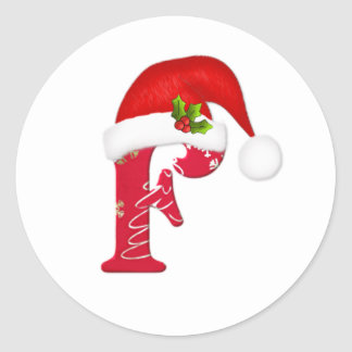 Monogram letter F, Santa hat Christmas  Sticker