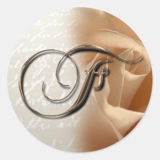 Monogram Letter F  Wedding Envelope Seal Classic Round Sticker
