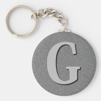 Monogram Letter G Basic Round Button Keychain