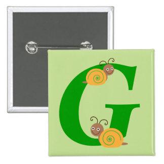 Monogram letter G brian the snail kids button, pin