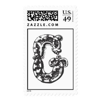 Monogram Letter G in Black Postage Stamps
