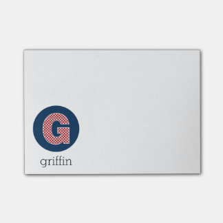 Monogram Letter G with Navy and Red Polka Dots Post-it® Notes