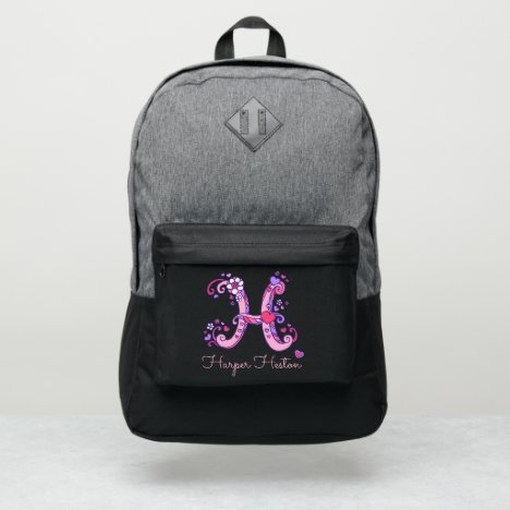 Monogram letter H hearts flower custom name Port Authority® Backpack