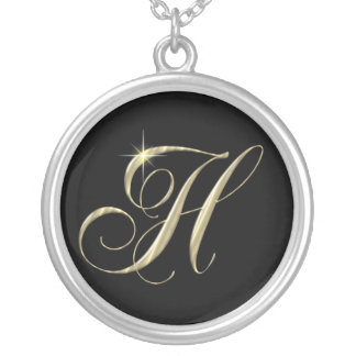 Monogram Letter H initial Necklace Sterling Silver