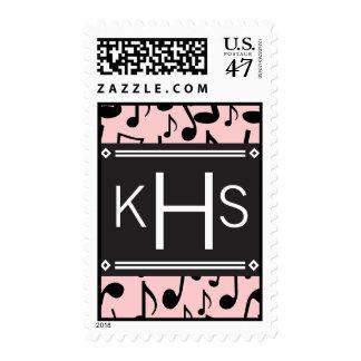 Monogram Letter H Music Notes Stamp
