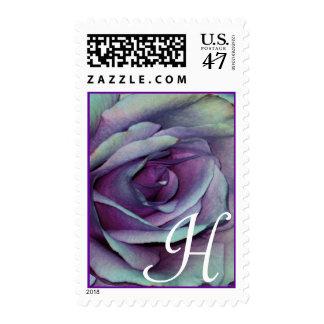Monogram Letter H Purple Rose Stamp