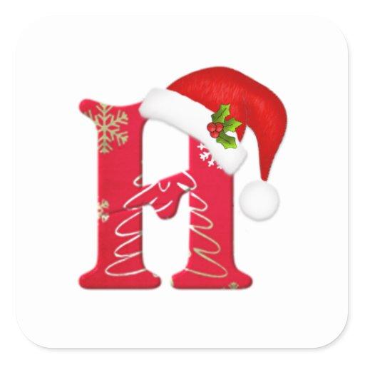 Monogram letter H, Santa hat Christmas Sticker | Zazzle