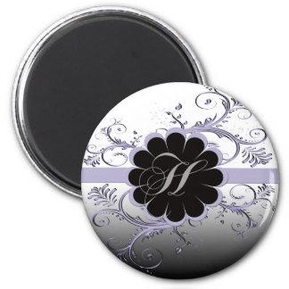 Monogram Letter H Violet 2 Inch Round Magnet