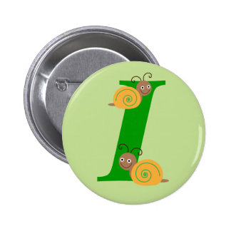 Monogram letter I brian the snail kids button, pin