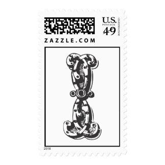 Monogram Letter I in Black Postage Stamps