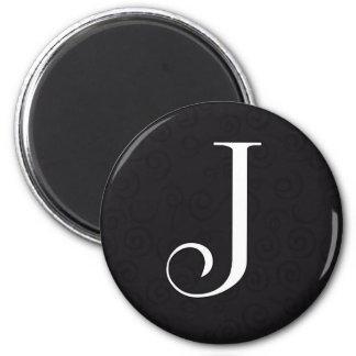 Monogram Letter J 2 Inch Round Magnet