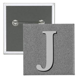 Monogram Letter J 2 Inch Square Button