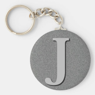 Monogram Letter J Basic Round Button Keychain