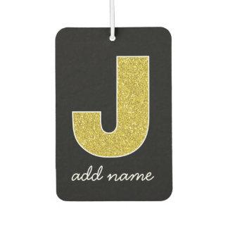 Monogram Letter J - Black and Fake Sparkle Glitter Car Air Freshener
