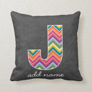 Monogram Letter J - Chalkboard and Bright Chevrons Throw Pillows