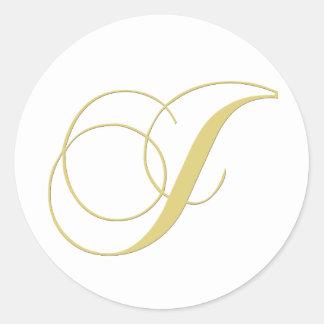 Monogram Letter J Golden Single Round Stickers