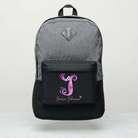Monogram letter J hearts flower custom name Port Authority® Backpack