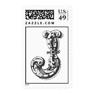Monogram Letter J in Black Postage