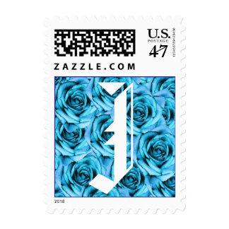 Monogram Letter J Light Blue Roses Stamp