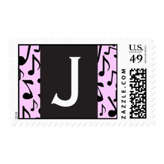 Monogram Letter J Music Notes Stamp