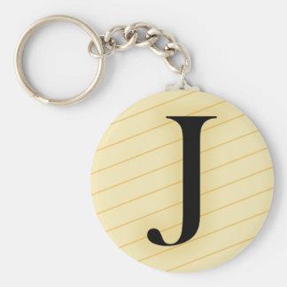 Monogram Letter - J (orange) Basic Round Button Keychain