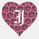 Monogram Letter J Pink Roses Heart Sticker
