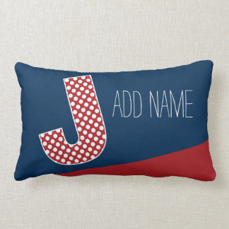Monogram Letter J - Red and White Polka Dots Throw Pillows