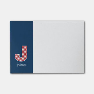 Monogram Letter J with Navy and Red Polka Dots Post-it® Notes