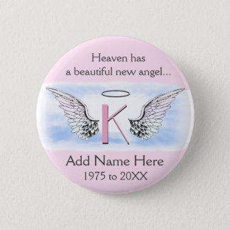 Monogram | Letter K | Add Name | Memorial Pinback Button