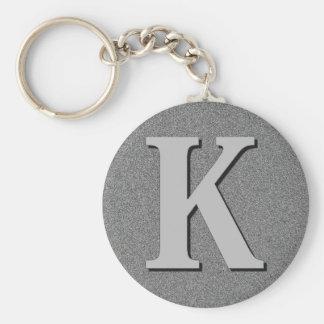 Monogram Letter K Basic Round Button Keychain