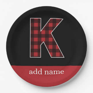 Monogram Letter K - Black and Red Buffalo Plaid Paper Plate