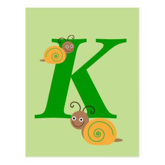Monogram letter K brian the snail kids postcard