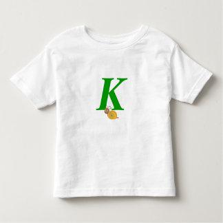 Monogram letter K brian the snail toddler t-shirt