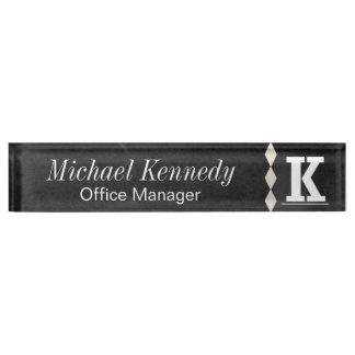 Monogram Letter K Chalkboard Name Plate