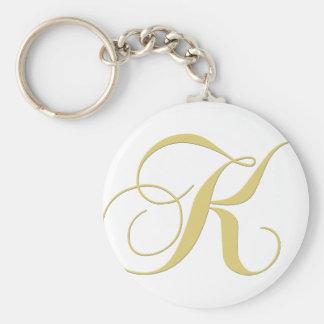 Monogram Letter K Golden Single Keychain