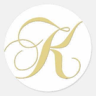 Monogram Letter K Golden Single Stickers