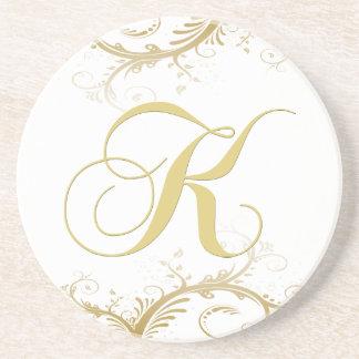 Monogram Letter K Golden Vines Drink Coaster