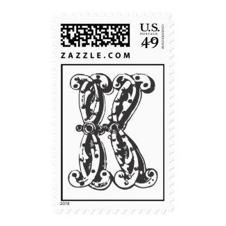 Monogram Letter K in Black Postage Stamp